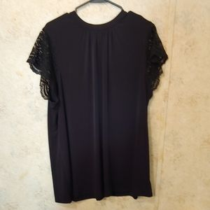 Torrid Black Blouse with Lace Short Sleeves Size 3
